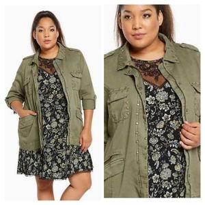 Torrid Studded Cargo Jacket Army Green 1X